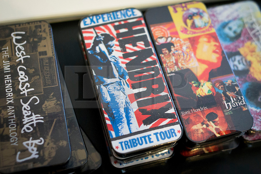 © Licensed to London News Pictures. 02/04/2013. London, UK. Exclusive Jimi Hendrix guitar plectrum cases are seen in a pop-up shop set up to celebrate a new album by the late guitar legend in London today (02/04/2013). The shop, called 'People, Hell and Angels' 'located near London's Carnaby Street, runs from the 1st of April until the 12th of April 2013 and features memorabilia, music and photographs of the guitarist and singer who died in 1970 of a drug overdose. Photo credit: Matt Cetti-Roberts/LNP