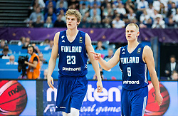 Lauri Markkanen of Finland and Sasu Salin of Finland during basketball match between National Teams of France and Finland at Day 1 of the FIBA EuroBasket 2017 at Hartwall Arena in Helsinki, Finland on August 31, 2017. Photo by Vid Ponikvar / Sportida