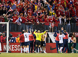 The US Men's National Team celebrates in front of fans after defeating Mexico.  The United States men's soccer team defeated the Mexican national team 2-0 in CONCACAF final group qualifying for the 2010 World Cup at Columbus Crew Stadium in Columbus, Ohio on February 11, 2009.