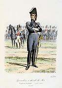 Royal Mounted  Grenadiers, 1814-1815. From 'Histoire de la maison militaire du Roi de 1814 a 1830' by Eugene Titeux, Paris, 1890.