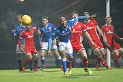 Calvin Andrew looks to win the ball during the EFL Sky Bet League 1 match between Rochdale and Walsall at Spotland, Rochdale, England on 23 December 2017. Photo by Daniel Youngs.