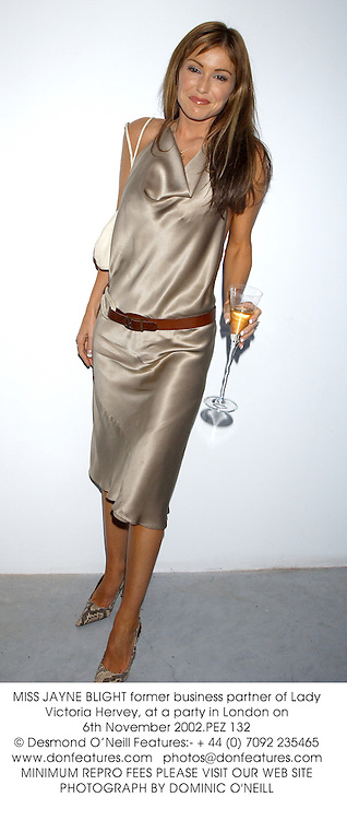 MISS JAYNE BLIGHT former business partner of Lady Victoria Hervey, at a party in London on 6th November 2002.PEZ 132