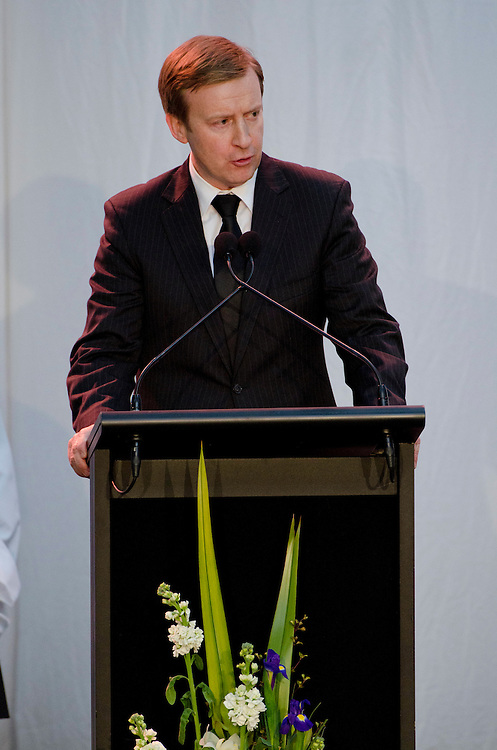 The Honourable Dr Jonathan Coleman, Minister of Defence speaks at the Military Commemorative Service for LCPL Durrer and LCPL Malone at Burnham Military Camp, New Zealand, Saturday, August 11, 2012. Credit :  SNPA / David Alexander