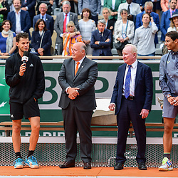 Bernard Giudicelli president of FFT, Dominic Thiem (AUT), Rafael Nadal (SPA) and Rod Laver during the men Final of Roland Garros on June 9, 2019 in Paris, France. (Photo by Anthony Dibon/Icon Sport)