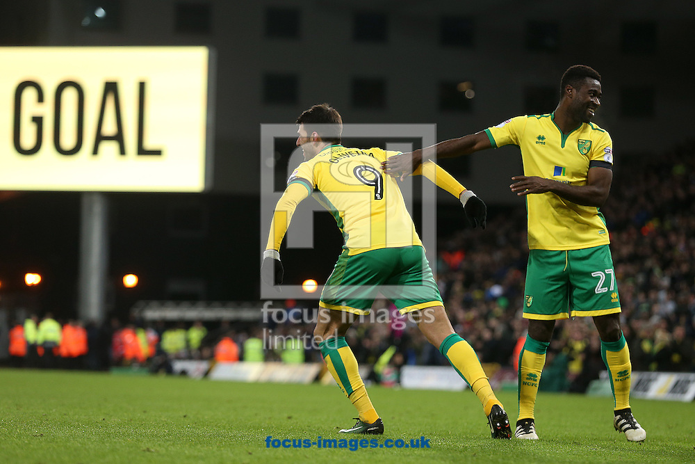 Nelson Oliveira of Norwich celebrates scoring his sides 2nd goal during the Sky Bet Championship match at Carrow Road, Norwich<br /> Picture by Paul Chesterton/Focus Images Ltd +44 7904 640267<br /> 02/01/2017