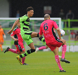 Forest Green Rovers's Kurtis Guthrie and Dover Athletic's Richard Orlu battle for the ball- Photo mandatory by-line: Nizaam Jones - Mobile: 07966 386802 - 25/04/2015 - SPORT - Football - Nailsworth - The New Lawn - Forest Green Rovers v Dover - Vanarama Conference League