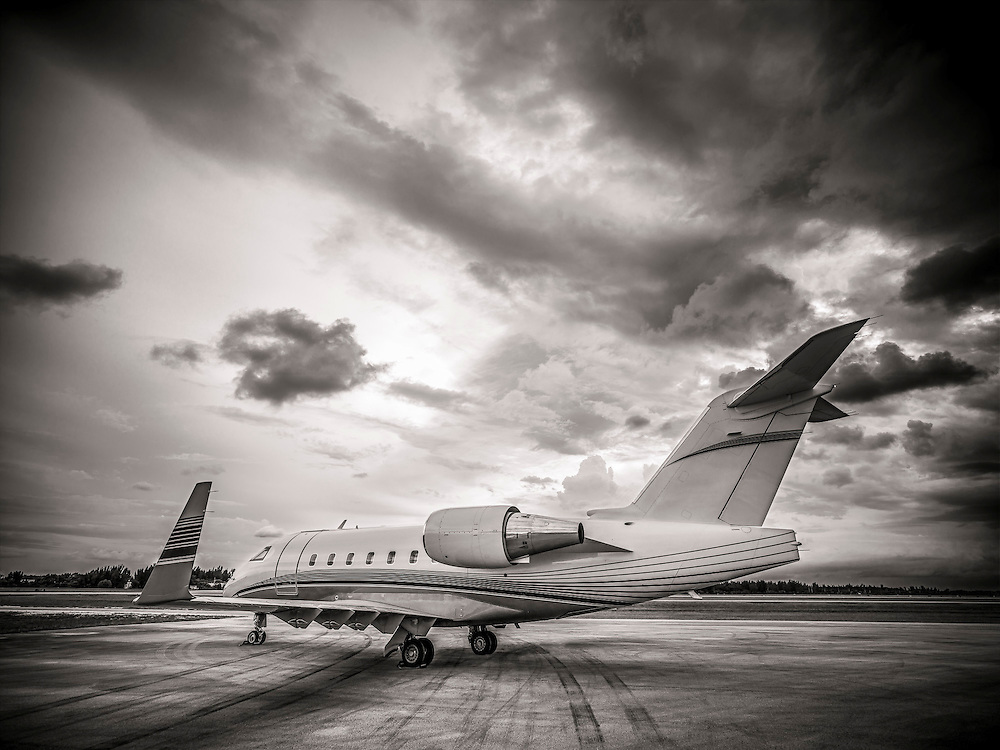 Bombardier Challenger 605, photographed on the ramp at Opa-locka Executive Airport, near Miami.  Commissioned as advertising for Phillips 66 Aviation Fuels.<br />