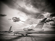 Bombardier Challenger 605, photographed on the ramp at Opa-locka Executive Airport, near Miami.  Created as advertising for Phillips 66 Aviation Fuels.