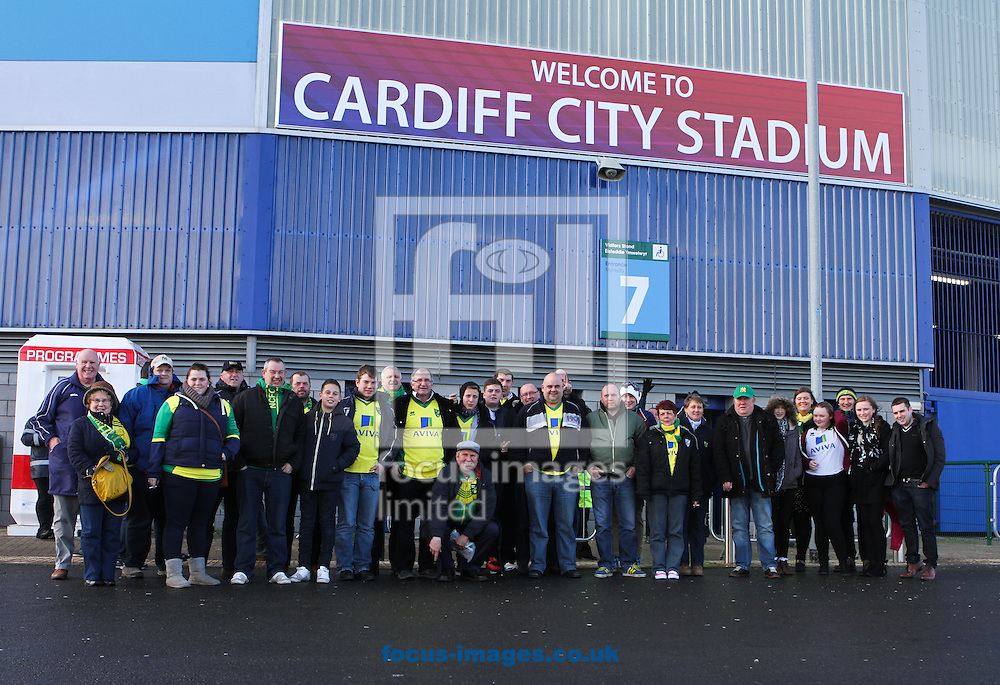 Picture by Tom Smith/Focus Images Ltd 07545141164<br /> 01/02/2014<br /> Norwich City fans outside the stadium before the Barclays Premier League match at the Cardiff City Stadium, Cardiff.