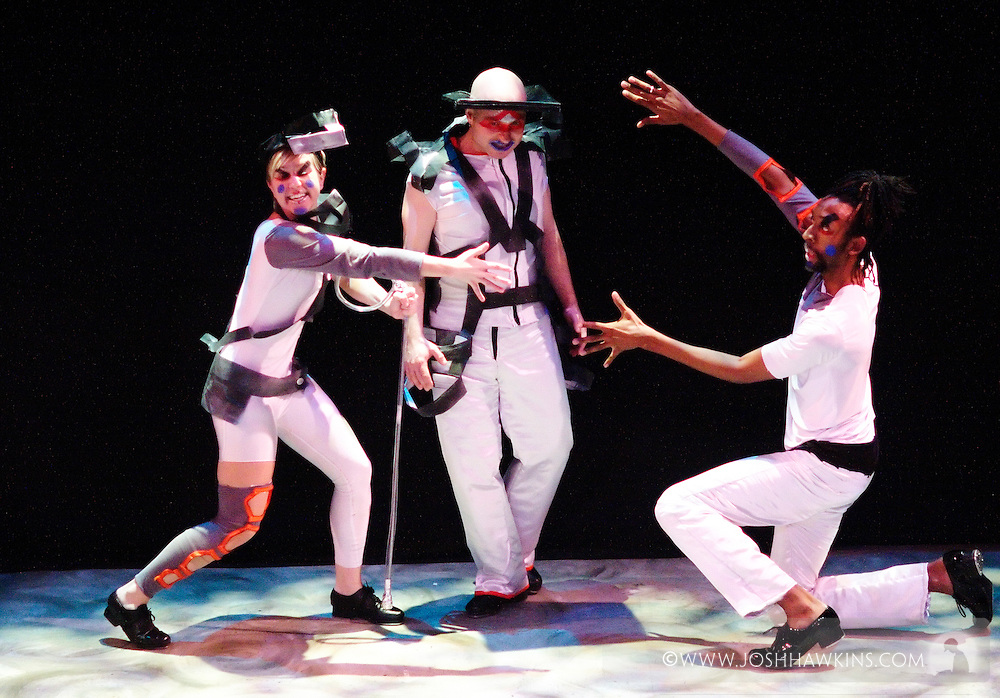 """Chicago Tap Theatre's production """"Changes"""" - A science fiction tap dance opera featuring the music of David Bowie at Stage 773 in Chicago...L to R, Stacy Milam, """"Provo"""", Mark Yonally """"Altego"""", Phil Brooks """"Ug"""""""