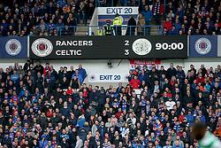 Scoreboard after 90 minutes at the Ladbrokes Scottish Premiership match at Ibrox Stadium, Glasgow.