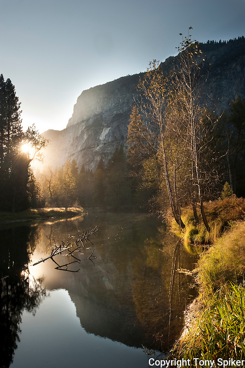 """Reflections in the Merced River"" - The Middle and Lower Brothers reflect in the Merced River at sunset"