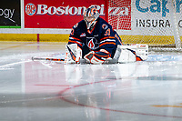 KELOWNA, BC - JANUARY 11: Dylan Garand #31 of the Kamloops Blazers stretches in net at the start of second period against the Kelowna Rockets at Prospera Place on January 11, 2020 in Kelowna, Canada. (Photo by Marissa Baecker/Shoot the Breeze)