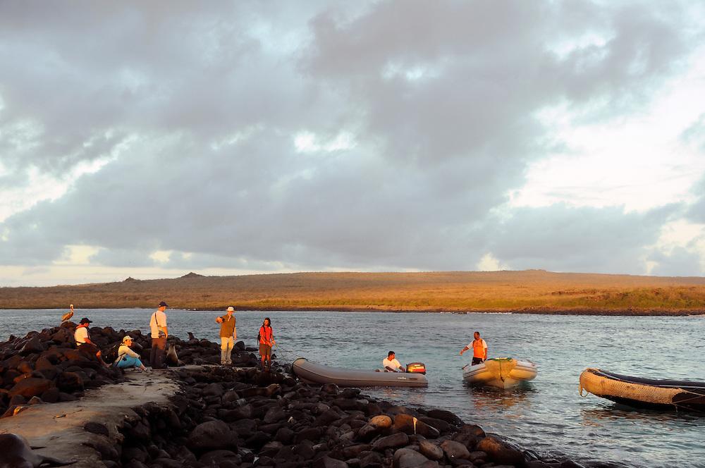 Tender Boat loading, Punta Suarez, Espanola Island, Galapagos Islands, Ecuador