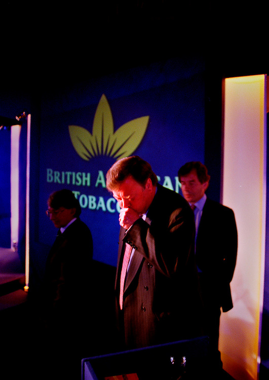 Ulrich Heater MD of British American Tobacco (L) with Kenneth Clarke (C) who will be non-executive deputy chairman after destructuring and Martin Broughton (R)