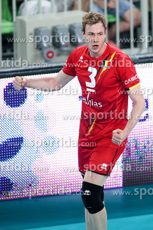 Sam Deroo of Belgium celebrates during volleyball match between National teams of Slovenia and Belgium in 2nd Round of 2018 FIVB Volleyball Men's World Championship qualification, on May 28, 2017 in Arena Stozice, Ljubljana, Slovenia. Photo by Morgan Kristan / Sportida