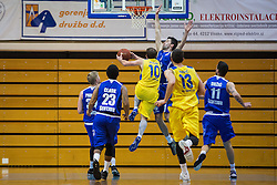 Sebic Stanko of KK Tajfun Sentjur and Jersin Boris of KK Sencur GGD during basketball match between KK Sencur  GGD and KK Tajfun Sentjur for Spar cup 2016, on 16th of February , 2016 in Sencur, Sencur Sports hall, Slovenia. Photo by Grega Valancic / Sportida.com