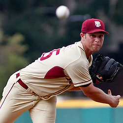 June 05, 2011; Tallahassee, FL, USA; Florida State Seminoles pitcher Mike McGee (25) throw against the Alabama Crimson Tide during the first inning of the Tallahassee regional of the 2011 NCAA baseball tournament at Dick Howser Stadium. Mandatory Credit: Derick E. Hingle