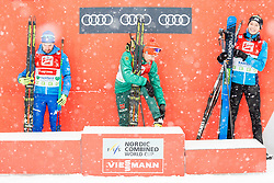 17.12.2017, Nordische Arena, Ramsau, AUT, FIS Weltcup Nordische Kombination, Siegerehrung, im Bild v.l.: 2. Platz Alessandro Pittin (ITA), 1. Platz Fabian Riessle (GER), 3. Platz Eero Hirvonen (FIN) // f.l.: 2nd placed Alessandro Pittin of Italy, Winner Fabian Riessle of Germany, 3nd placed Eero Hirvonen of Finland during winner ceremony of FIS Nordic Combined World Cup, at the Nordic Arena in Ramsau, Austria on 2017/12/17. EXPA Pictures © 2017, PhotoCredit: EXPA/ Dominik Angerer