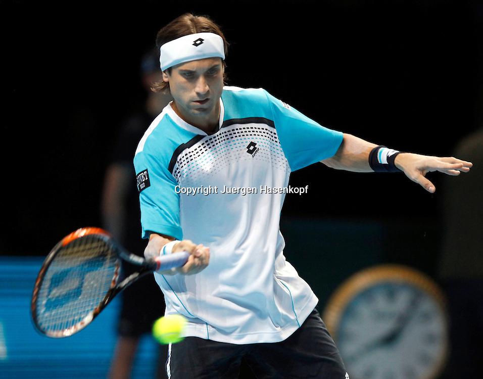 ATP World Tour Finals  2010 in der O2 Arena in London, HerrenTennis Turnier, WM, Weltmeisterschaft, David Ferrer (ESP),action.