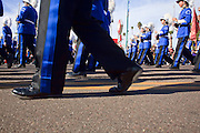 03 JANUARY 2009 -- PHOENIX, AZ: The Foothills High School band from Pleasanton, CA, marched in the annual Ft. McDowell Fiesta Bowl parade through Phoenix, AZ. More than 150,000 spectators line the parade routes which starts in north Phoenix and winds down Central Ave and 7th Street before ending in central Phoenix. More than 100 units march in the parade.  PHOTO BY JACK KURTZ