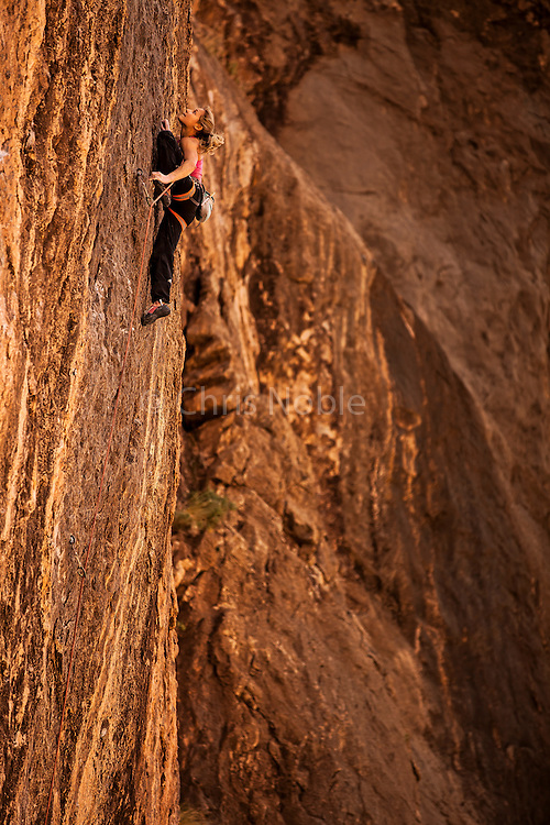 "Sasha DiGiulian climbing a route named ""Atonement"" rated14b in the Virgin River Gorge, Arizona."