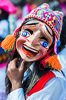 Pisac, Peru - July 16, 2013: man dancer portrait at Virgen del Carmen parade in the peruvian Andes at Pisac Peru on july 16th, 2013