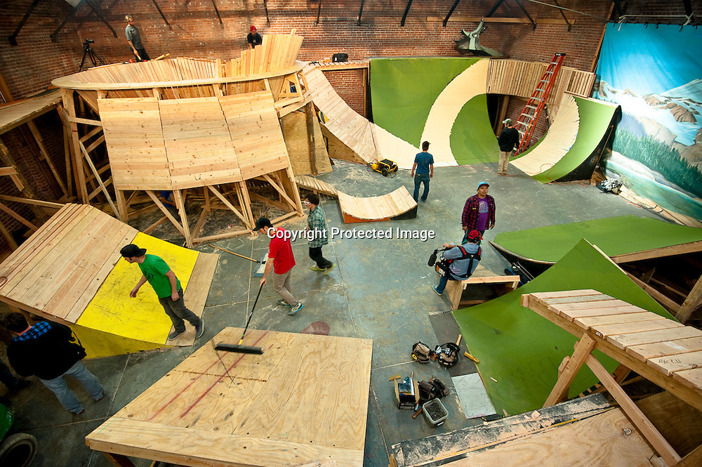 The Los Angeles warehouse set for Fuel TV's television show Built To Shred