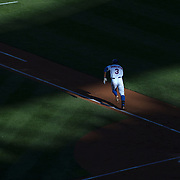 Curtis Granderson, New York Mets, runs to first base during the New York Mets Vs Washington Nationals MLB regular season baseball game at Citi Field, Queens, New York. USA. 4th October 2015. Photo Tim Clayton