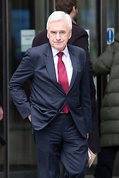 © Licensed to London News Pictures. 08/03/2020. London, UK. Shadow Chancellor of the Exchequer John McDonnell  departs BBC Broadcasting House after appearing on The Andrew Marr Show. Photo credit: George Cracknell Wright/LNP