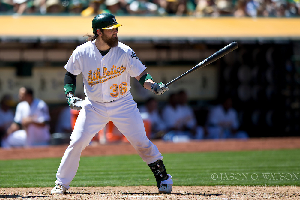 OAKLAND, CA - MAY 26:  Derek Norris #36 of the Oakland Athletics at bat against the Detroit Tigers during the sixth inning at O.co Coliseum on May 26, 2014 in Oakland, California. The Oakland Athletics defeated the Detroit Tigers 10-0.  (Photo by Jason O. Watson/Getty Images) *** Local Caption *** Derek Norris