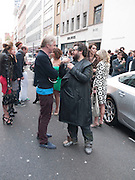 PHILIP TREACY; HALUK AKAKCE; , Haluk Akakce; Coming Home. Exhibition of work at the Alison Jacques Gallery. 29 April 2010. *** Local Caption *** -DO NOT ARCHIVE-© Copyright Photograph by Dafydd Jones. 248 Clapham Rd. London SW9 0PZ. Tel 0207 820 0771. www.dafjones.com.<br /> PHILIP TREACY; HALUK AKAKCE; , Haluk Akakce; Coming Home. Exhibition of work at the Alison Jacques Gallery. 29 April 2010.