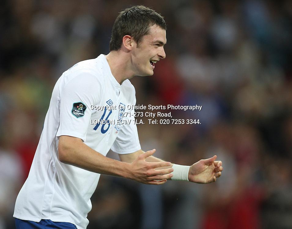 03/09/2010 International football. England v Bulgaria.<br /> Joy for goalscorer Adam Johnson.<br /> Photo: Mark Leech.