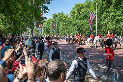 © Licensed to London News Pictures. 09/06/2018. London, UK. Guardsmen travel down The Mall during the Trooping The Colour ceremony in London to mark the 92nd birthday of Queen Elizabeth II, Britain's longest reigning monarch. Photo credit: Rob Pinney/LNP