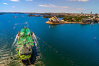 The oil tanker, Phoenix Strength, sails underneath the Sydney Harbour Bridge, Sydney, New South Wales, Australia