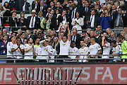 Michael Carrick lifts the FA cup during the The FA Cup Final between Crystal Palace and Manchester United at Wembley Stadium, London, England on 21 May 2016. Photo by Phil Duncan.
