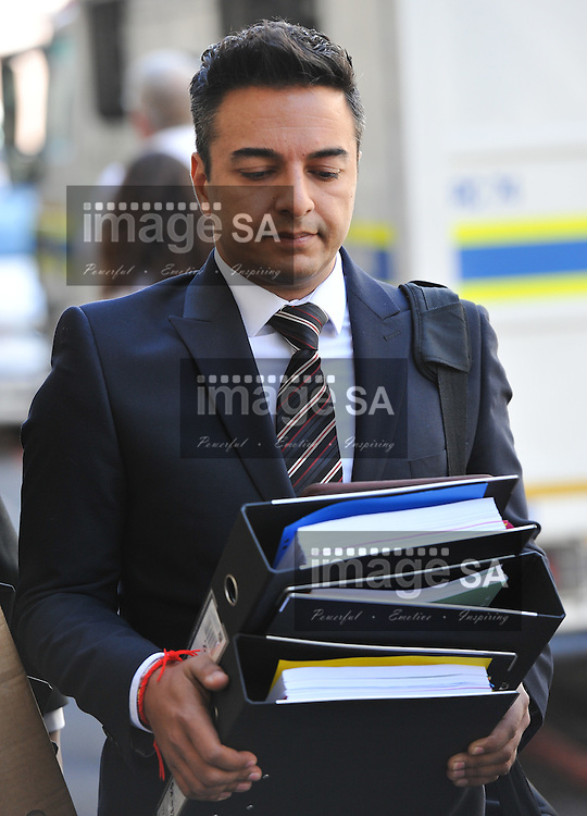 CAPE TOWN, SOUTH AFRICA - Monday 20 October 2014, Preyen Dewani, brother of Shrien Dewani, arrives at court during Day 6 of the Shrien Dewani trial at the Western Cape High Court before Judge Jeanette Traverso. Dewani is caused of hiring hit men to murder his wife, Anni. Anni Ninna Dewani (n&eacute;e Hindocha; 12 March 1982 &ndash; 13 November 2010) was a Swedish woman who, while on her honeymoon in South Africa, was kidnapped and then murdered in Gugulethu township near Cape Town on 13 November 2010 (wikipedia).<br /> Photo by Roger Sedres