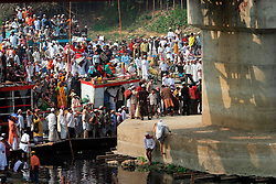 BANGLADESH TONGI 4FEB07 - Boats carrying worshippers arrive at Tongi bridge during the last day of the BiswaIjtema outside Tongi, a northern suburb of the capital city Dhaka. The annual Tablighi Jamaat Islamic movement congregation lasts three days and is attended by over two million Muslims, making it the second largest congregation after the Hajj to Mecca. Devotees from approximately 80 countries, including the host country, Bangladesh, attend the three-day Ijtema seeking divine blessings from Allah. The event focuses on prayers and meditation and does not allow political discussion. The local police estimated the number of attendees of the 2007 Ijtema to be 3 million...jre/Photo by Jiri Rezac..© Jiri Rezac 2007..Contact: +44 (0) 7050 110 417.Mobile:  +44 (0) 7801 337 683.Office:  +44 (0) 20 8968 9635..Email:   jiri@jirirezac.com.Web:    www.jirirezac.com..© All images Jiri Rezac 2007 - All rights reserved.