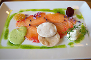 Malmö. Salt & Brygga restaurant serves manly local organic food. Organic farmed beetroot and horse-radish marinated salmon from Norway, served with salmon roe and wild garlic aioli.