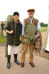 Left to right, the HON.DECLAN MORRISON and his father LORD MARGADALE at a charity shoot in aid of the charity Save The Rhino held at the West London Shooting School, Northolt, Middlesex on 30th May 2008.<br />