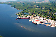 Ship are lined up at the docks of Sturgeon Bay, Wisconsin.