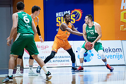 John Florveus KK Helios Suns during 9. round of Slovenian national championship between teams Helios Suns and Zlatorog Lasko in Sport Hall Domzale on 30. November 2019, Domzale, Slovenija. Grega Valancic / Sportida
