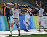 8/21/08 11:28:06 PM -- The 2008 Beijing Summer Olympics -- Beijing, China<br />  -- Team USA's Christie Rampone  celebrates their win over Brazil in their Women's Soccer Gold Medal Game Thrusday August 21, 2008. -- <br /> <br /> <br /> Photo by Jeff Swinger, USA TODAY Staff