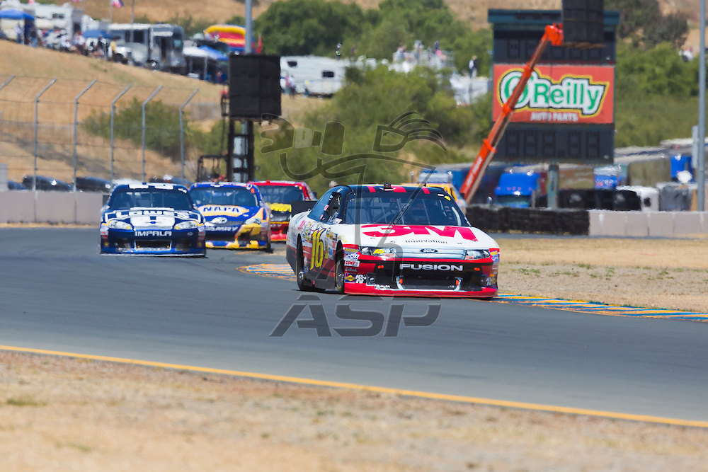SONOMA, CA - JUN 24, 2012:  Greg Biffle (16) brings his car through the turns during the Toyota Save Mart 350 at the Raceway at Sonoma in Sonoma, CA.