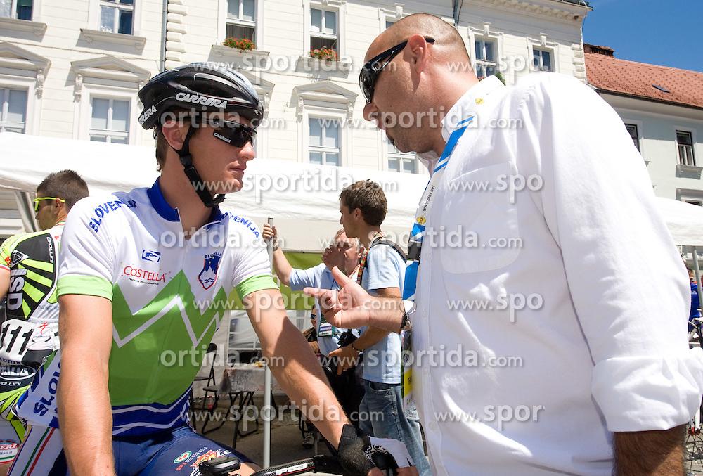Grega Bole  (SLO) of Slovenian National Team and Milan Erzen before 2nd stage of Tour de Slovenie 2009 from Kamnik to Ljubljana, 146 km, on June 19 2009, Slovenia. (Photo by Vid Ponikvar / Sportida)