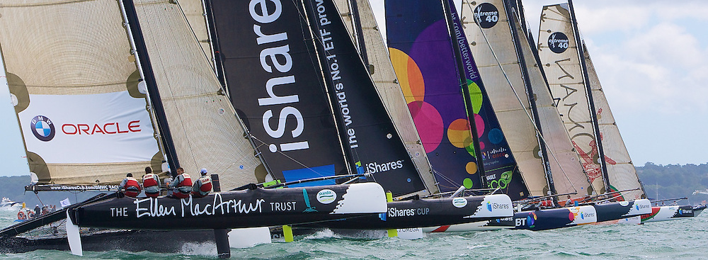 Off the Start line on Day 3 of the iShares Cup in Cowes