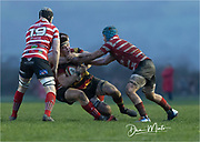High tackle missed again??<br /> <br /> Photographer: Dan Minto<br /> <br /> Indigo Welsh Premiership Rugby - Round 12 - Llandovery RFC v Carmarthen Quins RFC - Saturday 28th December 2019 - Church Bank, Llandovery, South Wales, UK.<br /> <br /> World Copyright © Dan Minto Photography<br /> <br /> mail@danmintophotography.com <br /> www.danmintophotography.com