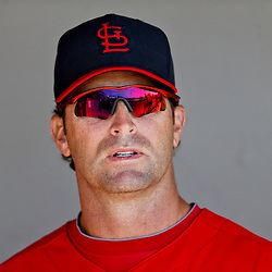 Mar 8, 2013; Melbourne, FL, USA; St. Louis Cardinals manager Mike Matheny (22) before a spring training game against the Washington Nationals at Space Coast Stadium. Mandatory Credit: Derick E. Hingle-USA TODAY Sports