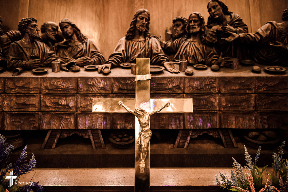 The altar crucifix and wood sculptures at Nazareth Lutheran Church, Baltimore, on Saturday, March 24, 2018. LCMS Communications/Erik M. Lunsford