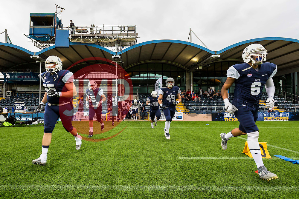London Blitz enter Sixways Stadium - Mandatory by-line: Jason Brown/JMP - 27/08/2016 - AMERICAN FOOTBALL - Sixways Stadium - Worcester, England - London Warriors v London Blitz - BAFA Britbowl Finals Day